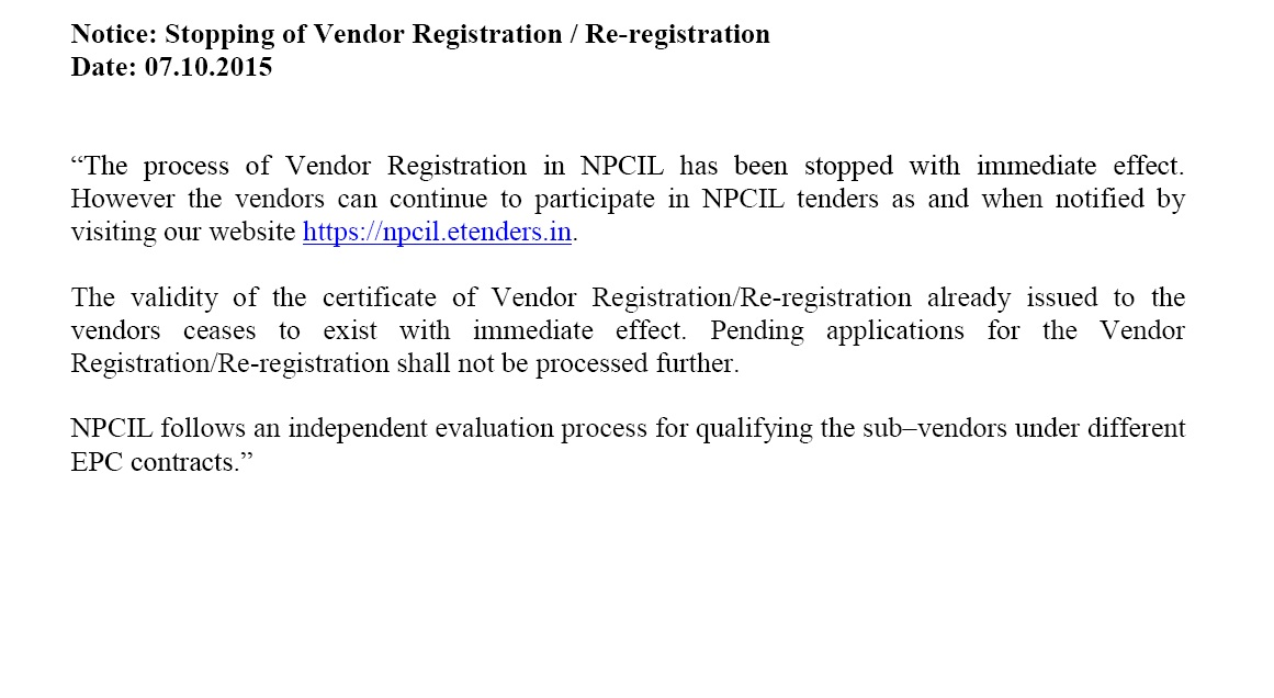 NPCIL e-Tenders | Public Tenders | Offline Tenders | Online